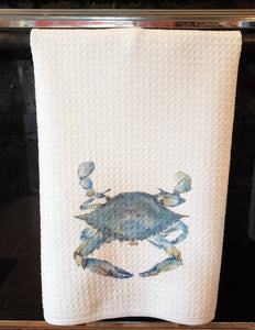 Blue Crab Tea Towel, Blue Crab Kitchen Decor, Maryland Blue Crab, Chesapeake Bay art,Blue Crab Painting Watercolor Leigh Barry Decor waffle - Leigh Barry Watercolors