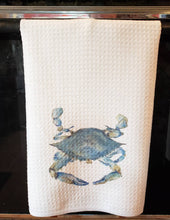 Load image into Gallery viewer, Blue Crab Tea Towel, Blue Crab Kitchen Decor, Maryland Blue Crab, Chesapeake Bay art,Blue Crab Painting Watercolor Leigh Barry Decor waffle - Leigh Barry Watercolors