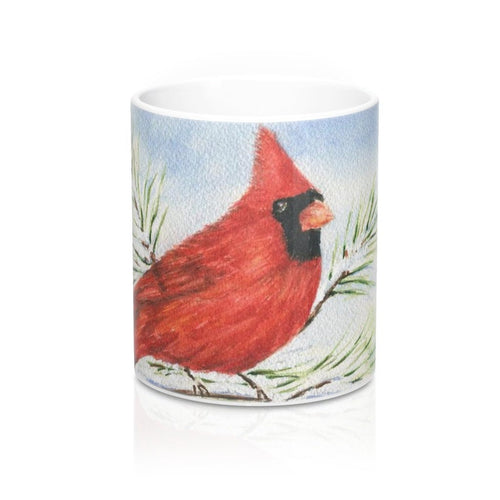 Red Cardinal Mug Red cardinal painting cardinal art coffee mug redbird mug Cardinal watercolor original art mug - Leigh Barry Watercolors