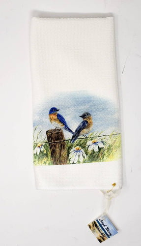 Bluebirds Tea Towels Original Art Home Decor Bird Gift Kitchen Towels Blue Bird Gift Kitchen gift Bird Art Nature art Bird painting - Leigh Barry Watercolors