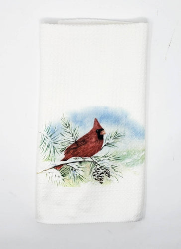 Red Cardinal Tea towel Red cardinal kitchen towels cardinal home decor redbird kitchen decor redbird painting cardinal art Leigh Barry gift - Leigh Barry Watercolors