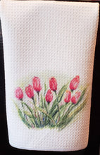 Load image into Gallery viewer, Tulips Tea Towels Tulips Kitchen Towels Spring Flowers Tea Towel Kitchen Decor Tulips Painting decor tulips home decor red flowers decor art - Leigh Barry Watercolors