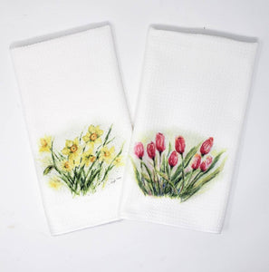 Tulips Tea Towels Tulips Kitchen Towels Spring Flowers Tea Towel Kitchen Decor Tulips Painting decor tulips home decor red flowers decor art - Leigh Barry Watercolors
