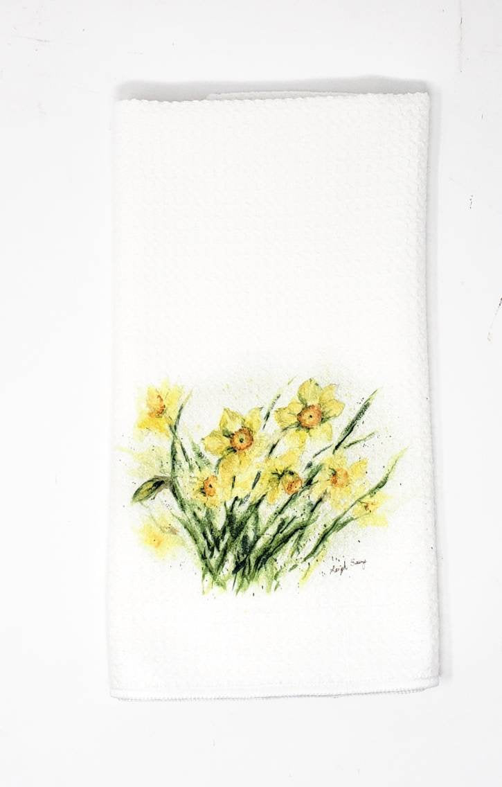 Daffodil Tea Towels Daffodils Dish Towels Kitchen Decor Yellow Flowers tea towels yellow kitchen decor yellow floral painting art daffodils - Leigh Barry Watercolors