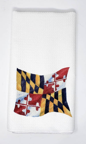 Maryland Flag Tea Towel State Flag Maryland Gift Maryland Home Decor Maryland Gift Maryland Kitchen Towel Waffle Weave Leigh Barry art - Leigh Barry Watercolors