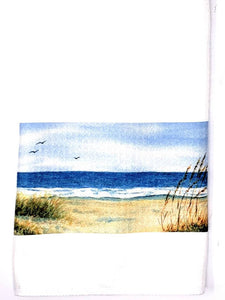 Beach Tea Towel Beach Watercolor dish towel Beach Decor Beach house decor Ocean painting dish towel Ocean watercolor art seashore kitchen - Leigh Barry Watercolors