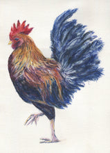 Load image into Gallery viewer, Rooster Tea Towel Dish Towels Kitchen Towels Rooster Art Kitchen Art Rooster Painting Original Rooster Painting waffle weave microfiber - Leigh Barry Watercolors