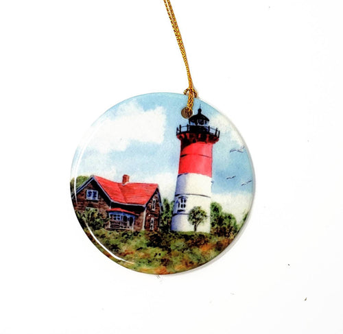 Nauset Light Ornament Nauset Lighthouse Cape Cod Massachusetts Christmas ornament Original art Nauset Light painting Cape Cod gift - Leigh Barry Watercolors
