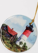 Load image into Gallery viewer, Nauset Light Ornament Nauset Lighthouse Cape Cod Massachusetts Christmas ornament Original art Nauset Light painting Cape Cod gift - Leigh Barry Watercolors