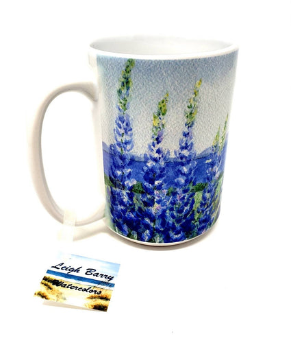 Lupine And The Sea Coffee Mugs Lupine Mug Latte mug Camp Mug Maine gift Maine art lupine art lupine painting seaside painting ocean art - Leigh Barry Watercolors