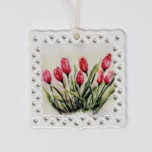Tulips Ornament Tulips Painting Floral Art Ornament Mothers Day gift Flower Art Garden gift for gardener flower gift porcelain ornament - Leigh Barry Watercolors
