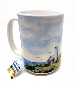 Pemaquid Lighthouse Maine Mug Maine Painting art gift Maine gift Maine lighthouse Mug watercolor print - Leigh Barry Watercolors