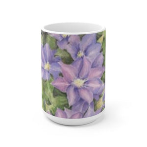 Clematis Watercolor Coffee Mug Latte Mug Purple floral mug purple flowers coffee cup original watercolor floral dishes kitchen gift for her
