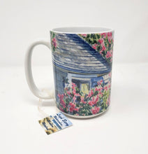 Load image into Gallery viewer, Nantucket Rose Covered Cottage Coffee Mug Latte Mug Camp Mug Cape Cod Mug Sconset Painting Cape Cod Art Watercolor Pink Roses Mug - Leigh Barry Watercolors