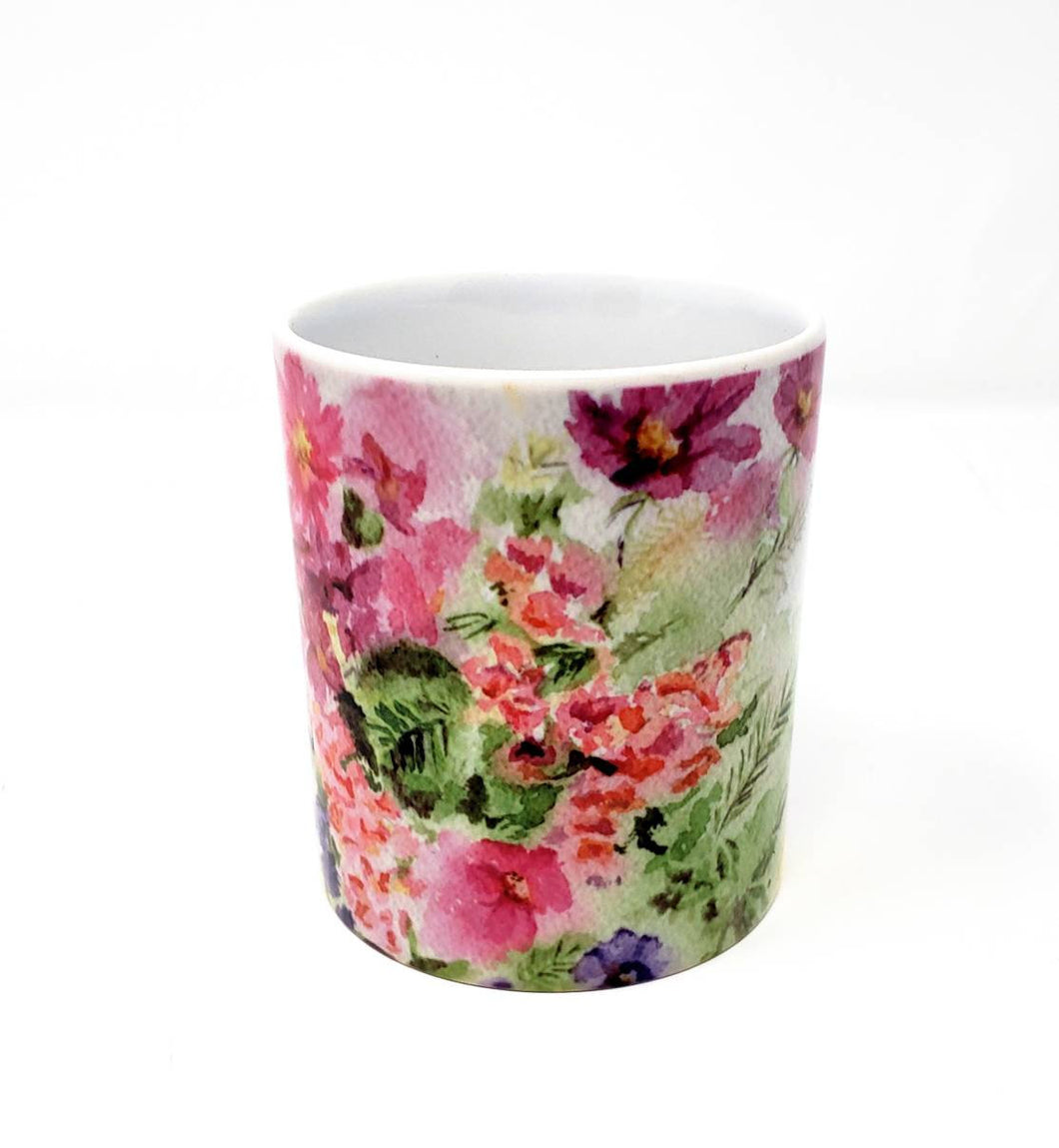 Floral Coffee Mugs Colorful Mug Latte Mug Camp Mug Camper Cup Pink Floral cup gift for mom gift for her large coffee mug Leigh Barry Coffee