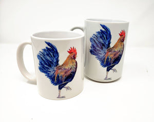 Rooster Mugs Rooster Art Large Mug Camp Mug Enamel Camper Mugs Latte Mug Rooster Art Rooster Painting Kitchen Art - Leigh Barry Watercolors