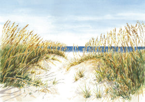 Ocean View watercolor painting digital download beach dunes painting beach wall decor framed wall decor Leigh Barry Watercolors - Leigh Barry Watercolors