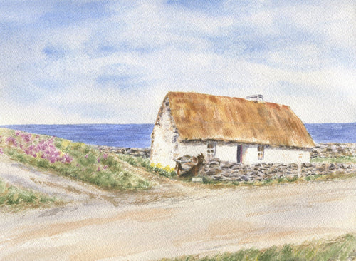 Inisheer: Ireland watercolor painting, Irish painting, Ireland print, Irish art,Irish cottage, Ireland wall art, Irish wall decor Ireland - Leigh Barry Watercolors