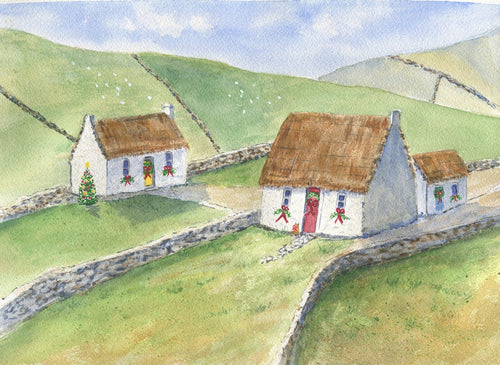An Irish Christmas: Ireland, Irish cottage Irish art watercolor Irish print Irish painting Ireland landscape painting original art framed - Leigh Barry Watercolors