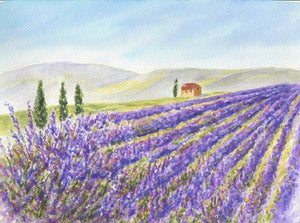 Lavender Field: original lavender painting watercolor lavender print Provence France landscape painting landscape painting print purple art - Leigh Barry Watercolors