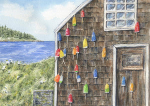 Lobster Shack, Lobster Bouys, Maine painting, original or print, watercolor painting, Maine art watercolor Maine painting seaside landscape