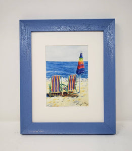 Lunchtime: Beach watercolor painting beach print ocean decor watercolor original beach painting Leigh Barry Watercolors print framed