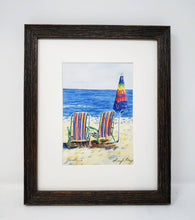 Load image into Gallery viewer, Lunchtime: Beach watercolor painting beach print ocean decor watercolor original beach painting Leigh Barry Watercolors print framed