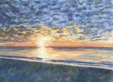 Load image into Gallery viewer, Mackerel Sky: Sunrise Watercolor Print Giclee watercolor ocean painting ocean beach print beach wall decor coastal wall art seascape - Leigh Barry Watercolors