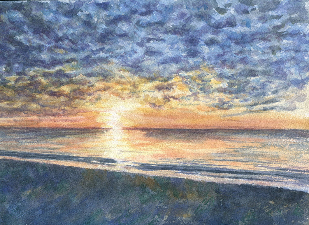Mackerel Sky: Sunrise Watercolor Print Giclee watercolor ocean painting ocean beach print beach wall decor coastal wall art seascape - Leigh Barry Watercolors