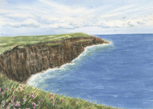 CLIFFS OF MOHER Ireland landscape painting giclee or original watercolor print Ireland print Irish wall art Irish framed painting - Leigh Barry Watercolors