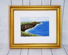 Load image into Gallery viewer, CLIFFS OF MOHER Ireland landscape painting giclee or original watercolor print Ireland print Irish wall art Irish framed painting - Leigh Barry Watercolors