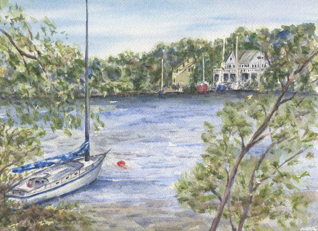 Mooring: Sailboat painting nautical watercolor river water painting original watercolor original painting framed art giclee print boat art - Leigh Barry Watercolors