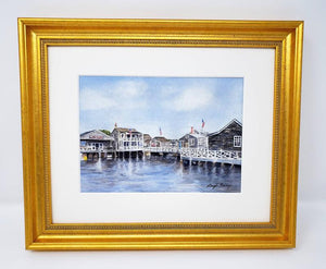 Nantucket Harbor Watercolor Painting Fine Art Prints or Original Watercolor Nantucket Painting Cottage Art Leigh Barry Watercolors Giclee - Leigh Barry Watercolors