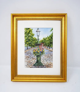 Nantucket Main Street Fountain watercolor prints or original watercolor Nantucket art print Cape Cod painting Nantucket planter painting - Leigh Barry Watercolors