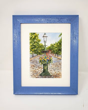 Load image into Gallery viewer, Nantucket Main Street Fountain watercolor prints or original watercolor Nantucket art print Cape Cod painting Nantucket planter painting - Leigh Barry Watercolors