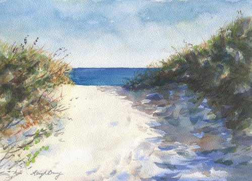 On the Path Beach Path watercolor ocean painting beach decor framed giclee watercolor print beach artwork beach house decor ocean painting - Leigh Barry Watercolors