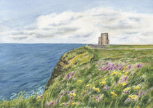 Load image into Gallery viewer, O'Brien's Tower Cliffs of Moher Ireland Painting giclee print or original watercolor Irish art Ireland landscape Ireland gift Irish gift - Leigh Barry Watercolors