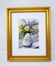 Load image into Gallery viewer, White Vase flower watercolor painting floral original art colorful floral wall decor flower painting print framed wall decor Leigh Barry Watercolor art - Leigh Barry Watercolors