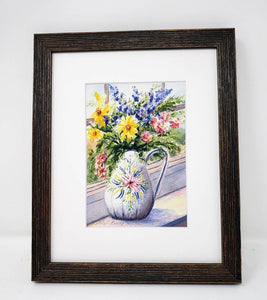 White Vase flower watercolor painting floral original art colorful floral wall decor flower painting print framed wall decor Leigh Barry Watercolor art - Leigh Barry Watercolors