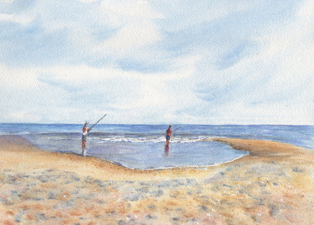 Pastime: Fishing watercolor print beach scene beach art beach decor beach wall art giclee print ocean painting original painting watercolor - Leigh Barry Watercolors
