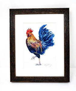 Rooster Painting Watercolor Fine Art Print Or Original Watercolor Bird Painting Framed Kitchen Art Rooster Watercolor Print - Leigh Barry Watercolors