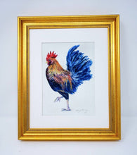 Load image into Gallery viewer, Rooster Painting Watercolor Fine Art Print Or Original Watercolor Bird Painting Framed Kitchen Art Rooster Watercolor Print - Leigh Barry Watercolors