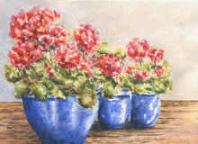 Load image into Gallery viewer, Red Geraniums / original watercolor print / kitchen wall art/ bathroom wall art / great wedding or settlement gift - Leigh Barry Watercolors