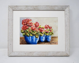 Red Geraniums / original watercolor print / kitchen wall art/ bathroom wall art / great wedding or settlement gift - Leigh Barry Watercolors