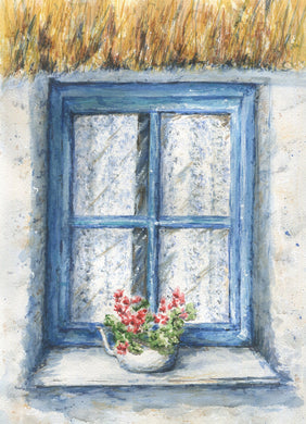 Irish Window Ireland watercolor original and prints Irish art Ireland art Irish Cottage thatched roof Irish print framed window painting - Leigh Barry Watercolors