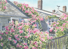 Load image into Gallery viewer, Nantucket painting Rose Covered Cottage Cape Cod framed watercolor print framed art print cottage art Sconset Nantucket painting roses - Leigh Barry Watercolors