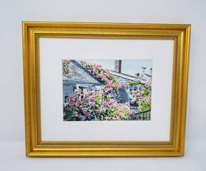 Nantucket painting Rose Covered Cottage Cape Cod framed watercolor print framed art print cottage art Sconset Nantucket painting roses - Leigh Barry Watercolors