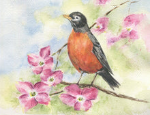 Load image into Gallery viewer, Robin painting Robin watercolor print framed bird print bird art bird print - Leigh Barry Watercolors