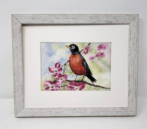 Robin painting Robin watercolor print framed bird print bird art bird print - Leigh Barry Watercolors