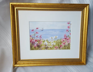 Sailing By: Seaside Painting Giclee Print or Originalbeach decor framed beach art cape cod art framed floral watercolor ocean watercolor - Leigh Barry Watercolors